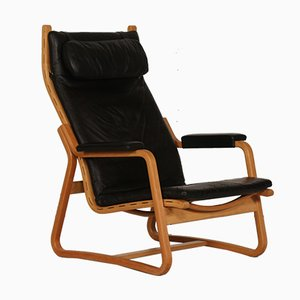 Mid-Century Danish Black Leather Chair by Ditte & Adrian Heath for France & Søn, 1970s