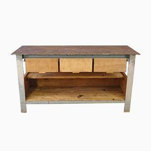 Banco da lavoro vintage industriale in legno grezzo e acciaio