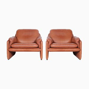 Vintage DS61 Armchairs & Ottoman from de Sede, 1970s, Set of 3
