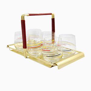 New Look Tablett mit 6 Gläsern, 1960er