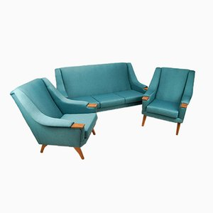 Mid-Century Turquoise Lounge Set, 1970s, Set of 3