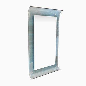 Geschwungener Spiegel aus Blauem Kristallglas von Santambrogio & De Berti