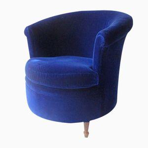 Blauer Vintage Samt Sessel