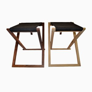 Beech & Rosewood Safari Folding Stools by Mogens Koch for Interna, 1960s, Set of 2