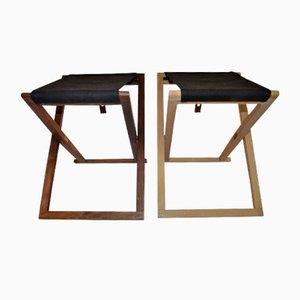 Tabourets Safari Pliables en Hêtre & Palissandre par Mogens Koch pour Interna, 1960s, Set de 2