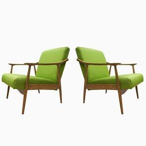Green Czechoslovak Armchairs, 1960s, Set of 2