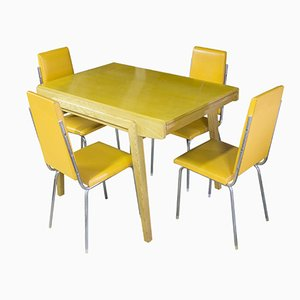 Czech Vintage Folding Dining Table with Four Chromed Chairs, 1960s