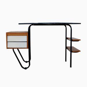 Kleiner Französischer Stahlrohr Schreibtisch, 1950er