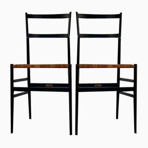 Schwarze Supperleggera Stühle von Gio Ponti für Cassina, 2er Set
