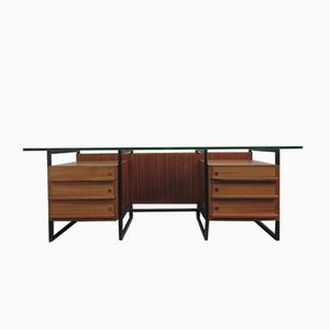 Belgian Rosewood, Glass, & Metal Executive Desk, 1960s