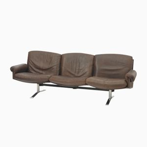 Mid-Century German 3-Seater Leather Sofa