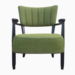 Danish Black Wooden and Green Wool Curved Easy Chair, 1940s