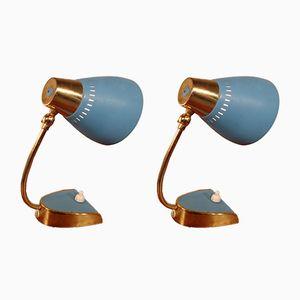 Blaue Mid-Century Nachttischlampen, 2er Set