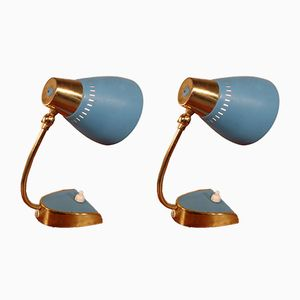 Mid-Century Blue Nightstand Lights, Set of 2