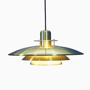 Mid-Century Danish Brass-Coated Aluminum Pendant Lamp, 1960s
