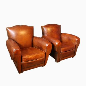 French Leather Club Chairs with Mustache Backs, 1930s, Set of 2