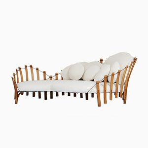 Italian Chaise Longue with White Fabric Cushions, 1950s