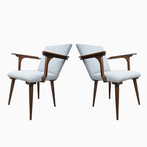 Mid-Century Modernist Gray Armchairs, 1970s, Set of 2