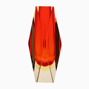 Italienische Mid-Century Murano Sommerso Vase von Mandruzzato