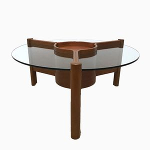 Mid-Century Triform Teak & Glass Coffee Table with Adjustable Center from Nathan