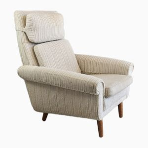 Danish High Back Armchair with Oatmeal Woolen Fabric, 1970s