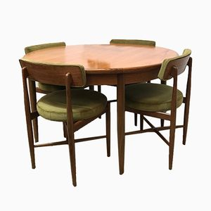 Mid-Century Fresco Extending Round Dining Table & Four Chairs by Victor Wilkins for G-Plan