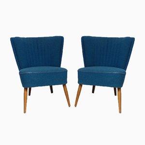 Blaue Mid-Century Sessel, 1950er, 2er Set