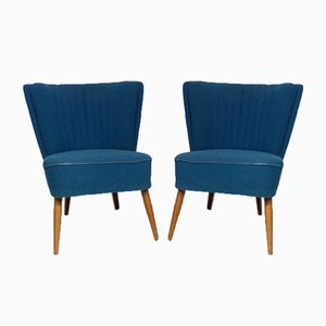Mid-Century Deep Blue Armchairs, 1950s, Set of 2
