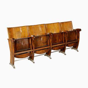Fila di sedie pieghevoli in faggio e pioppo, anni '60