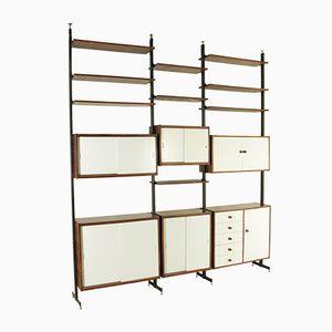 Bookcase in Rosewood Veneer, Brass, and Metal, 1960s