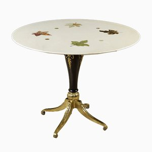 Table in Beech, Brass, and Marble, 1960s