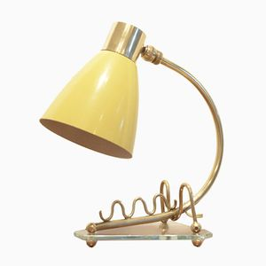 Mid-Century French Yellow & Brass Mini Table Lamp