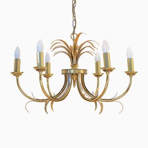 Mid-Century Belgian Bicolored Brass Pineapple Chandelier from Boulanger