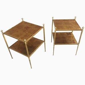 Beistelltische aus Vergoldetem Metall von Maison Baguès, 1970er, 2er Set