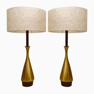 French Matt Brass Table Lamps, 1960s, Set of 2