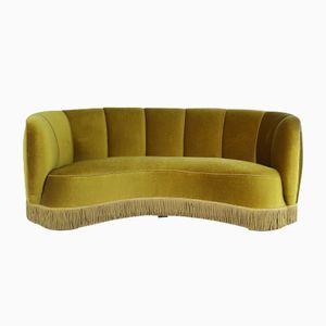 Danish Mid-Century Modern Olive Banana Sofa