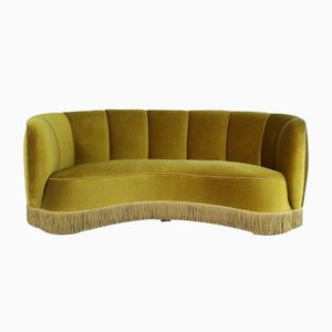 Olivgrünes Dänisches Mid-Century Modern Bananen Sofa