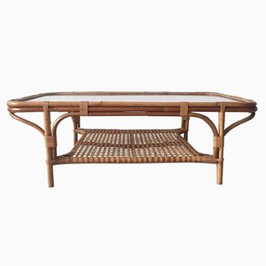 Rattan and Glass Rectangular Coffee Table, 1960s