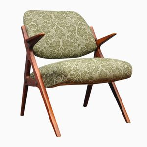 Danish Teak & Green Fabric Chair, 1960s