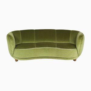 Mid-Century Modern Green Velvet Danish Banana Sofa