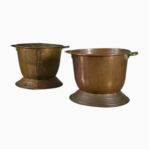 Antique Copper Coal & Log Bins, Set of 2