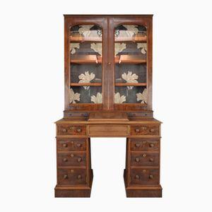 Antiker Viktorianischer Mahagoni Sekretär mit Glasiertem Bücherschrank