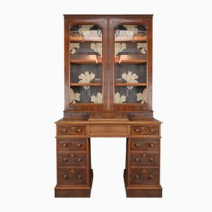 Antique Victorian Mahogany Twin Pedestal Desk & Glazed Bookcase