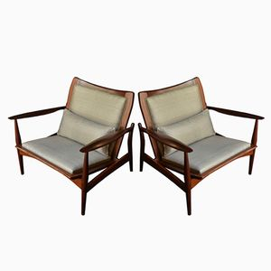 Danish Teak and Silk Armchairs by Ib Kofod Larsen, 1960s