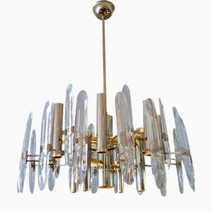 Vintage Italian Chrome, Brass and Glass Chandelier by Gaetano Sciolari