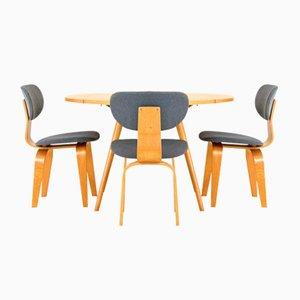 Vintage Klapptisch mit Drei Stühlen von Cees Braakman für Pastoe