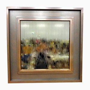 Großer Spiegel aus Rauchglas mit Metallrahmen, 1970er