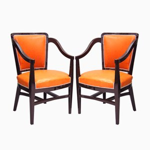Leather Armchairs by René Prou, 1924, Set of 2