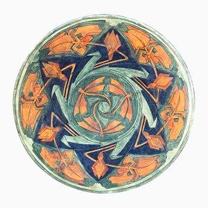 Piatto Art Deco grande in ceramica smaltata di A. Kerkhofs, 1903
