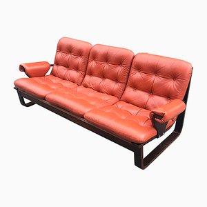 Skandinavisches Sofa aus Laminiertem Holz mit Orangenfarbenem Bezug, 1960er